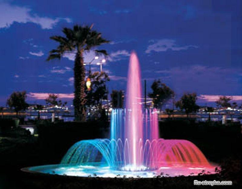 Как сделать фонтан цветным