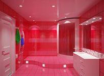 Розовый интерьер ванной комнаты в стиле шебби-шик