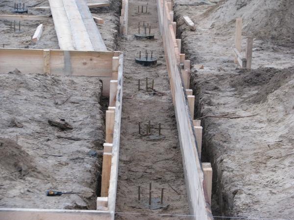 Установка опалубки под фундамент для будущей бани