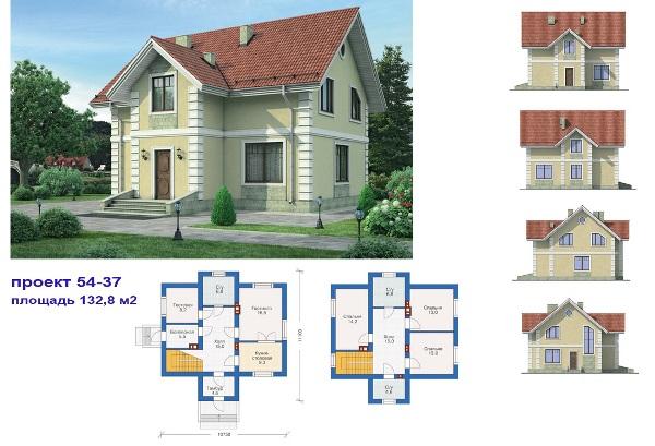 Проект коттеджа площадью 132.8 м2
