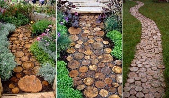 Как сделать садовую дорожку из спилов дерева?