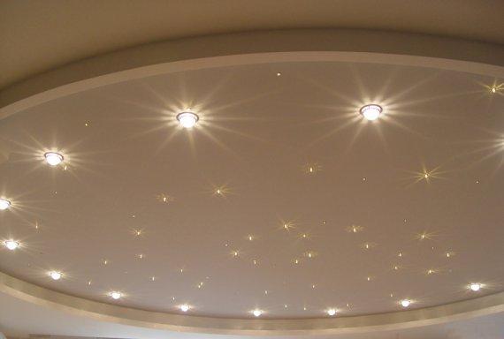 Какие виды светильников используют в натяжных потолках?
